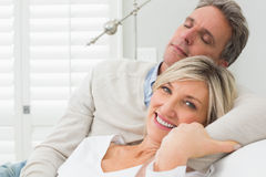 Closeup of a happy loving couple at home Royalty Free Stock Image