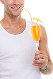 Closeup on happy man holding cocktail Stock Image