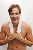 Closeup of a happy man in shape Stock Image