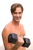 Closeup of a happy man in shape stock photography