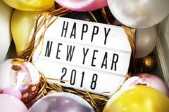 Closeup of Happy New Year 2018 board in a party Stock Image