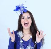 Closeup.happy pretty woman with a gift .isolated on a white Royalty Free Stock Photography