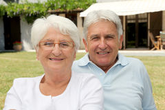 Closeup of happy senior couple Stock Images