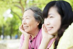 Happy senior mother with daughter Stock Photography