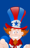 Closeup of Happy Uncle Sam. Vector Illustration of Cartoon Happy Uncle Sam Face Closeup stock illustration