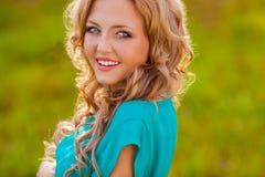 Closeup happy woman face outdoors Stock Photography