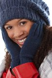 Closeup happy woman with hands around face Royalty Free Stock Photography