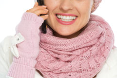 Closeup on happy woman speaking mobile Royalty Free Stock Photo