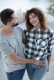 Happy young couple is hugging each other. Royalty Free Stock Photography