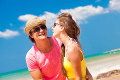Closeup of happy young couple in sunglasses on Royalty Free Stock Photography