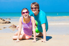 Closeup of happy young couple in sunglasses Royalty Free Stock Images
