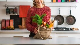 Closeup on happy young housewife with local market purchases in Royalty Free Stock Photography