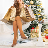 Closeup on happy young woman with shopping bags near christmas t. Ree Stock Photos