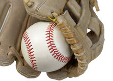 Closeup of Hardball in Baseball Glove Royalty Free Stock Images