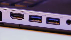 Closeup of HDMI and USB ports in a laptop.  stock video footage