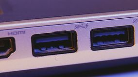 Closeup of HDMI and USB ports in a laptop.  stock footage