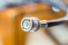Closeup head of CCTV cable RG6 RGB TV coaxial. Type to recording device Royalty Free Stock Images