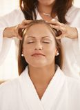 Closeup of head massage stock photos