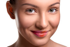 Closeup head shot of beautiful young woman with Stock Photography