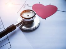 Closeup head of the Stethoscope put beside blurred cutted of red heart paper and heart rate drawing,vintage warm light tone royalty free stock images