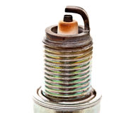 Closeup head of used spark plug Royalty Free Stock Photo