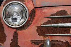 Closeup of the headlight of old car Stock Images