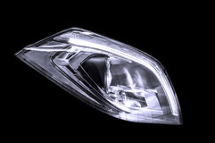 Closeup headlights of business car. Stock Photos