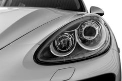 Closeup headlights of car. Stock Photo