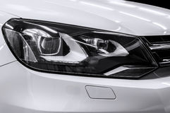 Closeup headlights of car. Royalty Free Stock Photography