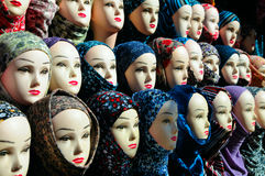 Closeup of the heads of a mannequin in hijab. Closeup of the female mannequin heads in hijab Royalty Free Stock Photo