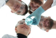 Healthcare professionals working with liquids in laborator. Closeup.healthcare professionals working with liquids in laborator Royalty Free Stock Image