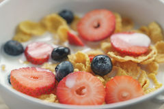 Closeup of healthy breakfast with corn flakes and berries in white bowl. Slightly toned photo Stock Image