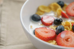 Closeup of healthy breakfast with corn flakes and berries in white bowl. Slightly toned photo Royalty Free Stock Photo