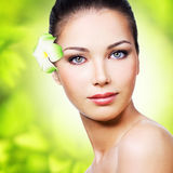 Closeup healthy face of young woman Royalty Free Stock Photography