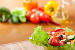Closeup healthy food Greek salad on wooden table Stock Photo
