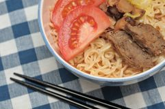Closeup of healthy meat noodles Royalty Free Stock Image