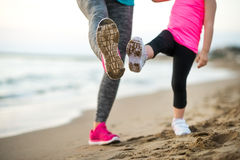 Closeup on healthy mother and baby girl workout Royalty Free Stock Photos