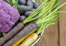 Closeup of healthy purple vegetables from overhead perspective. Topview of healthy raw organic purple vegetables Royalty Free Stock Photo