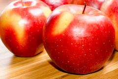 Healthy red apples with water droplets Stock Image