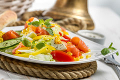 Closeup of healthy salmon and fresh vegetables. On white background Stock Image