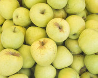 Closeup heap sweet fresh ripe red apples. Fruit backround. Healthy food. Royalty Free Stock Photography