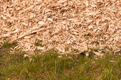Closeup of a heap of woodchips dumped in the grass Royalty Free Stock Photos