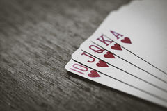 Closeup of heart royal flush the highest ranking hand Stock Photos