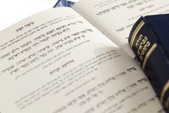 Passover Haggadah `Eliminating the Leaven`- Judaica Related  on White Background. Closeup of Hebrew text  in traditional Passover Haggadah `Eliminating the Stock Images