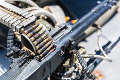 Closeup of helicopter machine gun. Royalty Free Stock Images