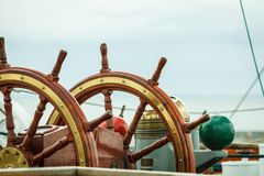 Closeup of helm rudder on ship or yacht Royalty Free Stock Photos
