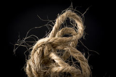 Closeup of Hemp Twine in Knot. Closeup of hemp twine or string in knot Royalty Free Stock Image