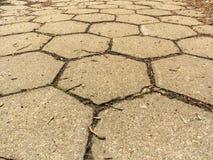Closeup of hexagonal stone sidewalk texture background Royalty Free Stock Photo