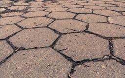 Closeup of hexagonal stone sidewalk texture background Royalty Free Stock Photos