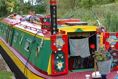 Closeup of a highly decorated barge on the Grand Union Canal at Lapworth in Warwickshire, England stock photo